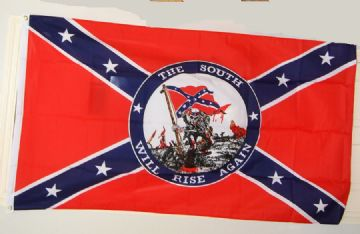 "Confederate Flag With Motto ""The South Will Rise Again"""